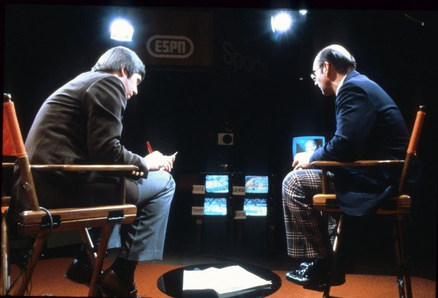 The viewing area - and fashion - has come a long way since this 1983 photo of Bob Ley and Dick Vitale watching the NCAA Tournament. And they surely didn't have a live blog like we do today!