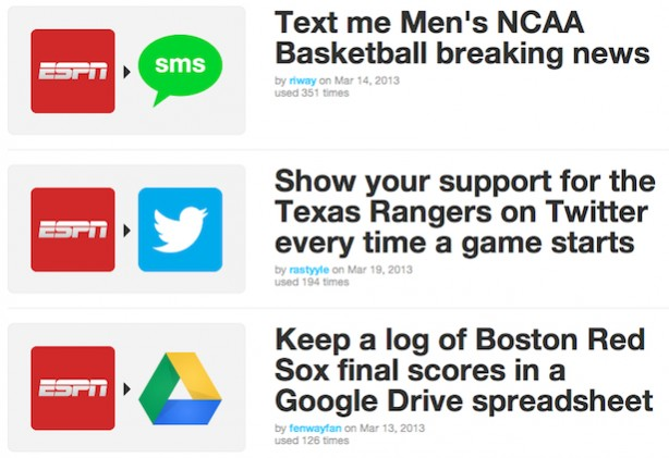 Examples of IFTTT recipes for sports fans using ESPN alerts and social media