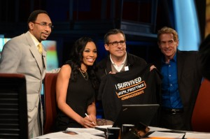 Steve Carell on the set of First Take with Skip Bayless, Cari Champion and Stephen A. Smith (Joe Faraoni / ESPN)