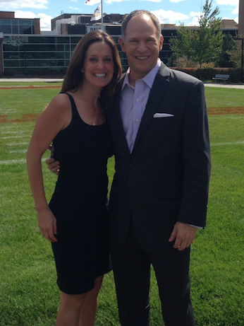 60 Minutes Sports correspondent Sharyn Alfonsi with Matthew Berry on ESPN's Bristol, Conn. campus.