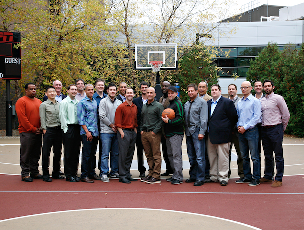 The ESPN.com NBA editorial team's innovation in news reporting, multimedia storytelling and cross-platform integration has raised the bar for online journalism across the industry.  Chris Ramsay (second row, far left), Royce Webb (second row, third from left) and Henry Abbott (first row, second from right) will assume new responsibilities within the ESPN Digital Media team.