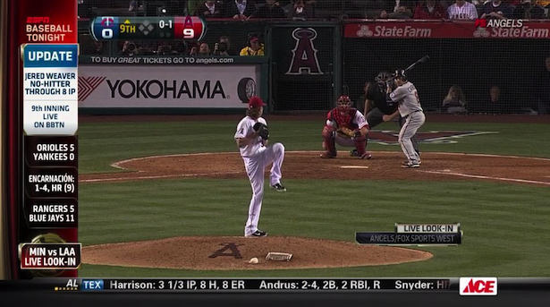 Photo of A look at how ESPN provided live look-ins for Jered Weaver's no-no