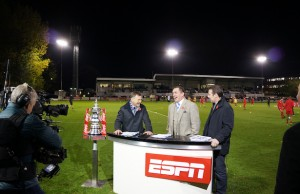 (L-R) ESPN UK lead soccer presenter Ray Stubbs, ESPN special guest Martin Allen, team manager of English soccer team Gillingham and ESPN UK soccer analyst Craig Burley. (Tristan O'Carroll/ESPN)
