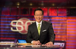 Anchor Michael Kim on the SportsCenter set (Phil Ellsworth / ESPN Images)