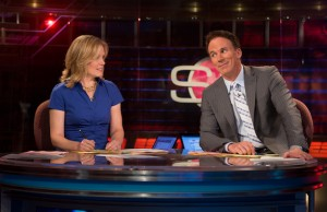 Chris McKendry (L) and John Buccigross on the SportsCenter set. (Joe Faraoni / ESPN Images)