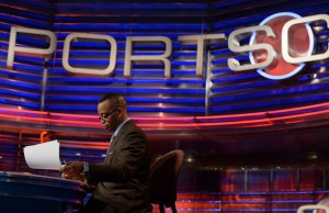 SportsCenter anchor Stuart Scott on the set. (Joe Faraoni / ESPN Images)