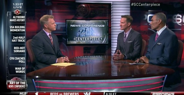 Anchor David Lloyd (l) and ESPN football analysts Danny Kanell (center) and Herm Edwards tackled a SportsCenter Centerpiece topic recently. (ESPN)
