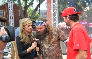 Samantha Ponder with Duck Dynasty's Willie Robertson and PGA golfer Bubba Watson on the set of College GameDay Built by the Home Depot (Photo by Scott Clarke/ESPN Images)