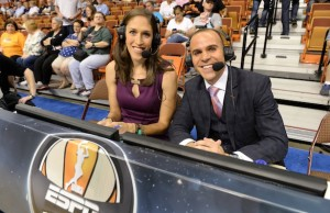 Rebecca Lobo and Ryan Ruocco during the 2013 WNBA All-Star Game. (Allen Kee / ESPN Images)