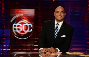 SportsCenter anchor Jorge Andres on the set (Joe Faraoni/ESPN Images)