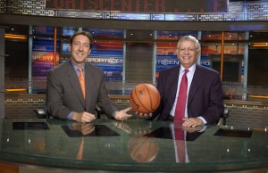 ESPN president George Bodenheimer is shown posing for a photo with NBA Commissioner David Stern on the SportsCenter studio set back on October 16, 2002.