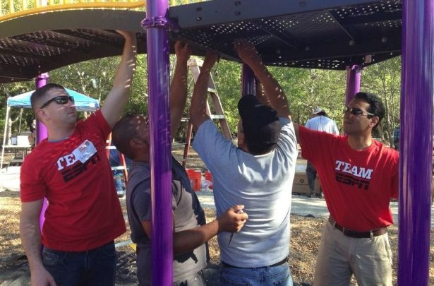 Photo of Kevin Negandhi assists with KaBOOM! build