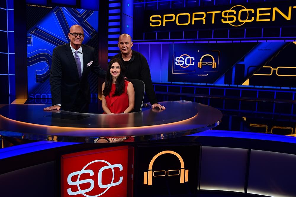 "Scott Van Pelt, ""Stanford Steve"" Coughlin and Marissa Cucolo on the set of SportsCenter.  (Joe Faraoni/ESPN Images)"