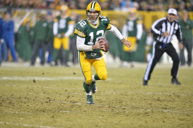 Aaron Rodgers of the Green Bay Packers during a regular season Monday Night Football game. (Scott Clarke/ESPN Images)