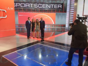 The SportsCenter: AM team participated in a photo session last week on the new-look set with ESPN Images photographer Allen Kee (far right). Pictured (L-R) Kevin Negandhi, Jaymee Sire, Sarina Morales and Jay Harris (Andy Hall/ESPN)