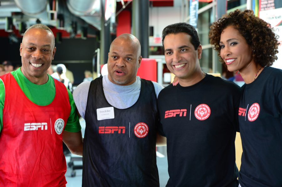 Commentators (l to r) Jay Harris, Freddie Coleman, Kevin Negandhi and Sage Steele support Special Olympics Unified Sports. (Joe Faraoni/ESPN Images)