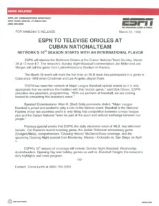 Press release of the '99 game in Cuba