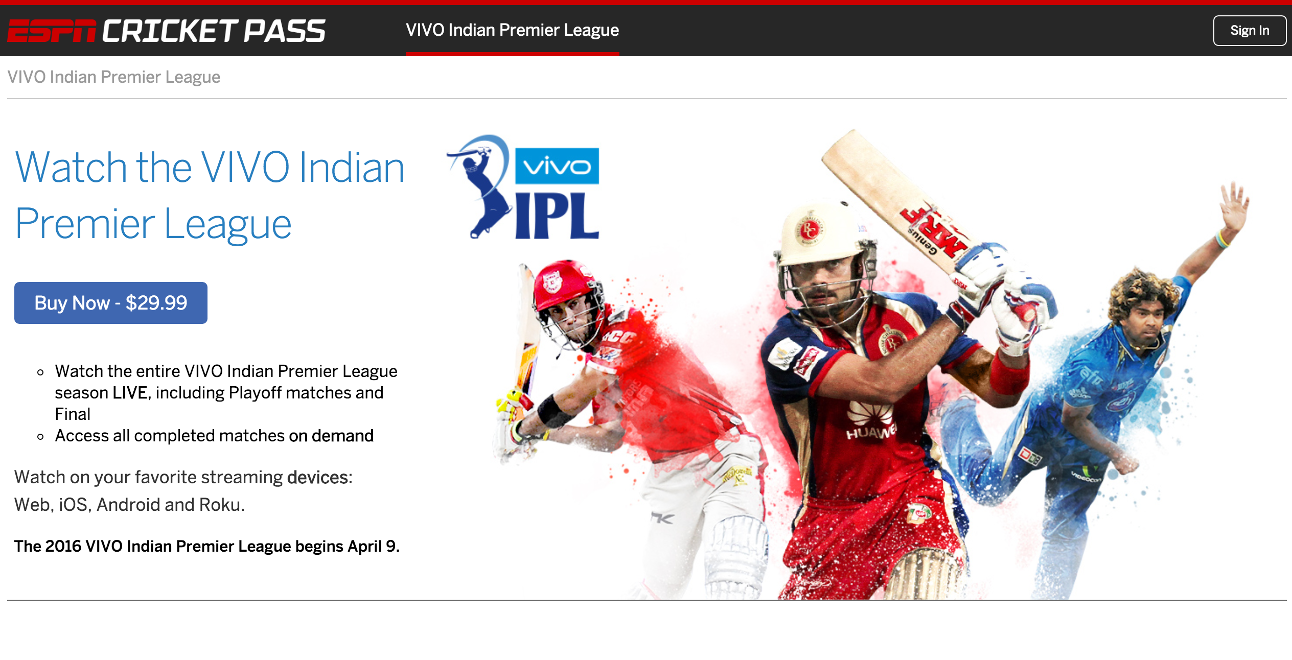 Cricket Fans Score With Espn Subscription Streaming Service