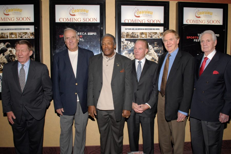 "December 3, 2008,  NYC:  -- ESPN Films ""The Greatest Game Ever Played"" premiere marked a major press event for ESPN Films. Former Baltimore Colts and New York Giants stars attending including (L-R)-- Jim Mutscheller, Gino Marchetti, Lenny Moore, former ABC ""Monday Night Football"" commentator Frank Gifford, Raymond Berry and Pat Summerall. (Lorenzo Bevilaqua/ESPN Images)"