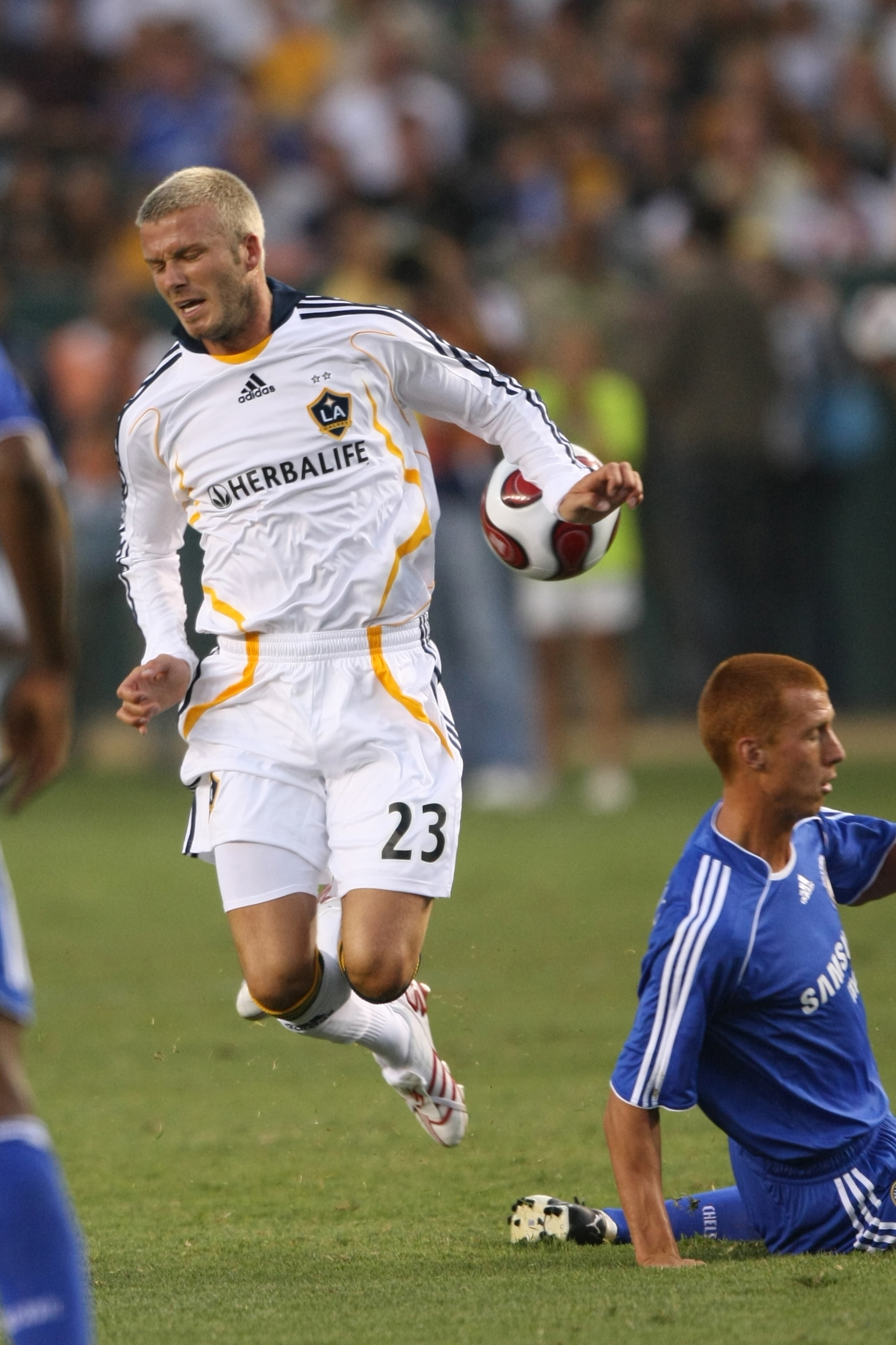 David Beckham (23) of Los Angeles Galaxy in action during his US debut during the World Series of Soccer at the Home Depot Center (Phil Ellsworth/ESPN Images)