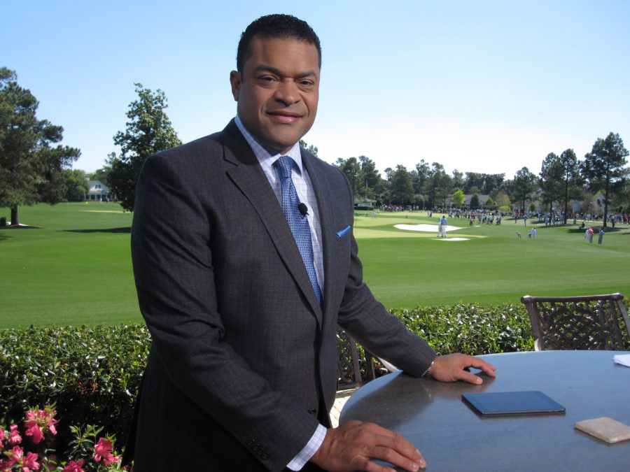 SportsCenter anchor Michael Eaves at the Masters Tournament (Andy Hall/ESPN)