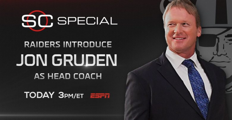 Photo of SportsCenter airs Gruden's return to Raiders today at 3 ET
